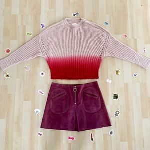 NWT cloth. Drop Shoulder Sweater pink & red ombre